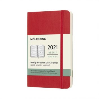 Moleskine 2021 12-Month Weekly Pocket Softcover Horizontal Diary : Scarlet Red