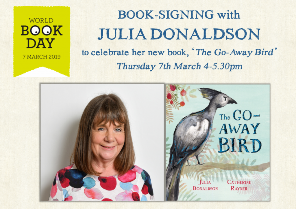 Julia Donaldson Go Away Bird Signing