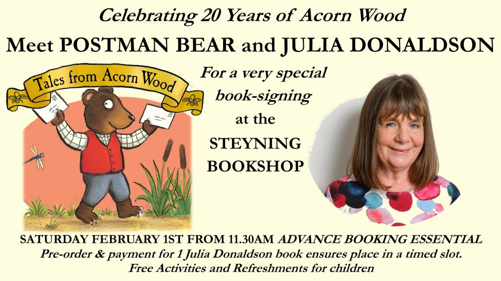 Julia Donaldson Book Signing with POSTMAN BEAR! February 2019