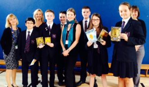 Author Ruth Eastham with staff and year 7 pupils at Steyning Grammar School